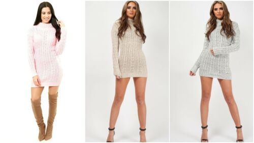 Womens Ladies Polo Neck Pullover Cable Knitted Oversized Jumper Mini Dress Top