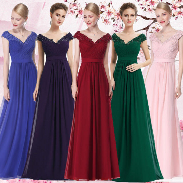 Ever-Pretty US V-Neck Long Bridesmaid Dress Evening Formal Prom Party Gown 08633