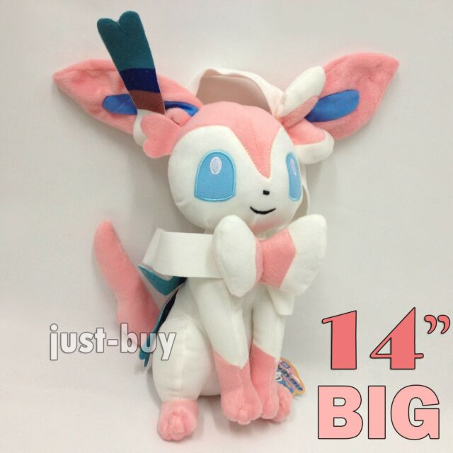 "Pokemon Plush Sylveon Fairy Form Eevee Soft Toy Stuffed Animal Doll 14"" VERY BIG"