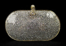JUDITH LEIBER Clear Crystal Metal Snake Clasp Minaudiere Evening Bag