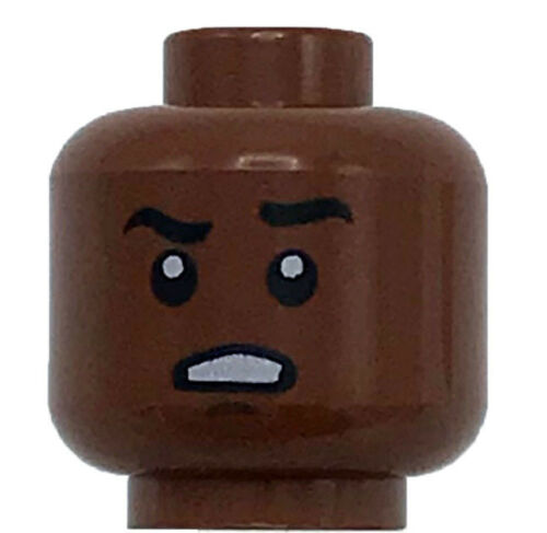 Lego New Reddish Brown Minifigure Head Dual Sided Raised Black Eyebrow Face