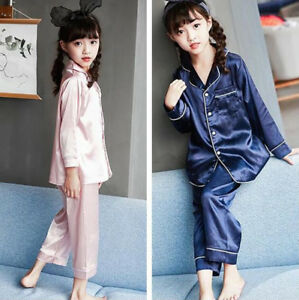 f3bcc433a5 Image is loading Girls-Silk-Satin-Pajamas-Pyjamas-Kid-Children-Loungewear-