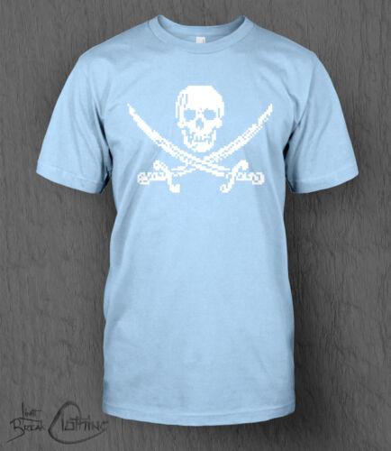 Pixel Skull and Crossbones Tee MEN/'S Pixel Art Retro 16bit 8-bit Piracy T-Shirt