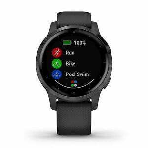 Garmin vivoactive 4S Black and Slate GPS Smartwatch Silicone Band 010-02172-11