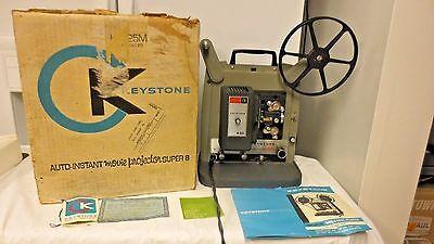 Vintage Keystone Auto-Instant Movie Projector Super 8 Model K-525-OrgBox-Info