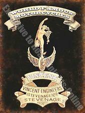 Vintage Garage Vincent, 129, Motorcycles Logo Badge Old, Small Metal/Tin Sign