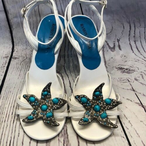 Ramon Tenza ankle strap turquoise starfish sandals