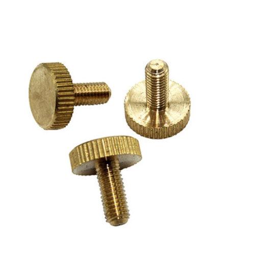 M6 Thumb Screw Brass Knurled Bolt Flat head Screws Black 8-22mm Length 2PCS