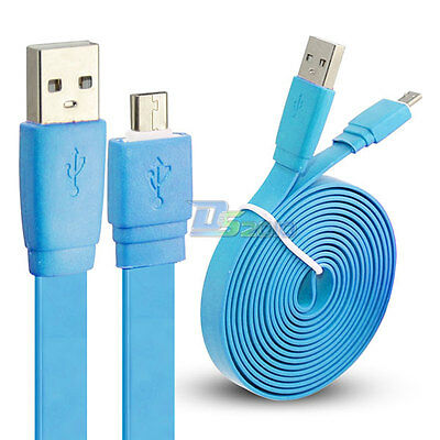 1/2/3m Premium Micro USB Flat Power Sync Cable Cord for Samsung Galaxy S4 Blue