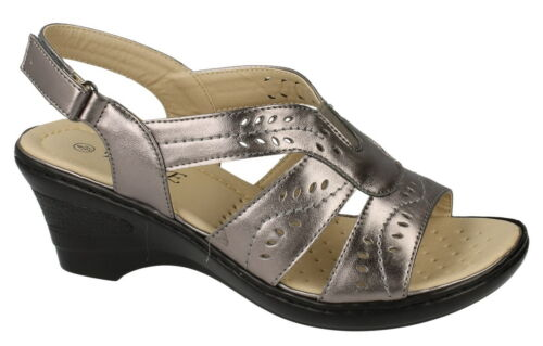 Eaze F3107 Ladies Pewter Synthetic Slingback Casual Sandals