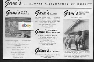 Internationale Antiq. & Kunst Aufstrebend Gam's Restaurants Honolulu & Kauai & Maui Hawaii 4 Locations 1948 Anzeige Mittel- & Südamerika