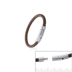 AgréAble Magnifique Bracelet Brun Acier & Cuir Tressé Homme Neuf