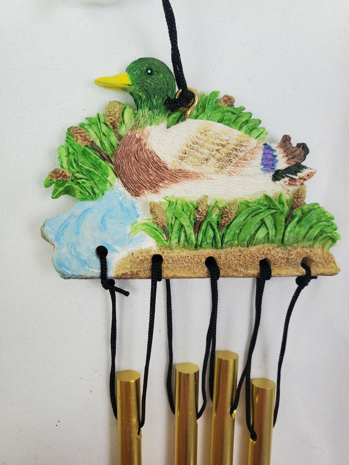 Vintage Ceramic Country Ducks Pond Mini Metal Wind Chimes Window Cattails