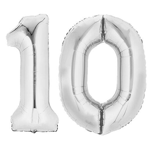 "Folienballon 80 cm SILBER /""10/"" Zahlenballon Luftballon Geburtstag Helium Zahl"