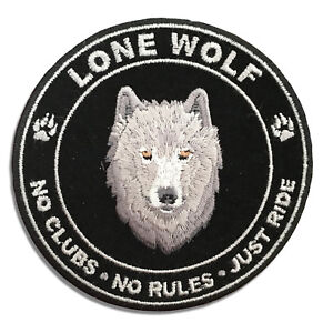 Lone-Wolf-No-Clubs-No-Rules-Just-Ride-Round-Sew-or-Iron-on-Patch-Biker-Patch