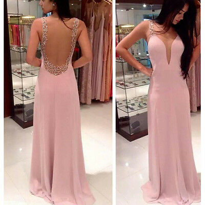 Elegant Women Sexy Chiffon Backless Party Evening Cocktail Prom Long Maxi Dress