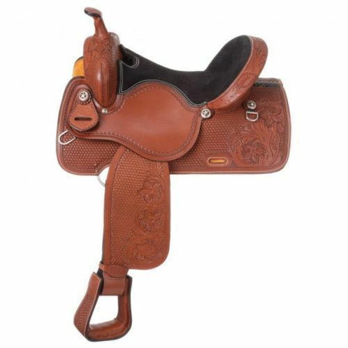 Western Brown Leather Hand Tooled Barrel  Racer Saddle 15  with Star Conchos  clients first reputation first