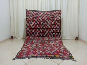 Vintage Boujad Handmade Moroccan Rug 4'2''x6'8'' Red Lozenge Wool Berber Carpet