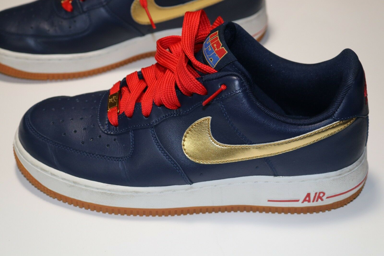 Nike Air Force 1 USA Olympic 2012 Men's Midnight Navy gold 488298-406 shoes  8.5