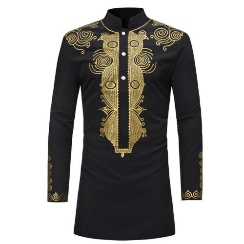 Male Dashiki Long Sleeve Shirts ventilate Tops Mens Print Ethnic Standing collar