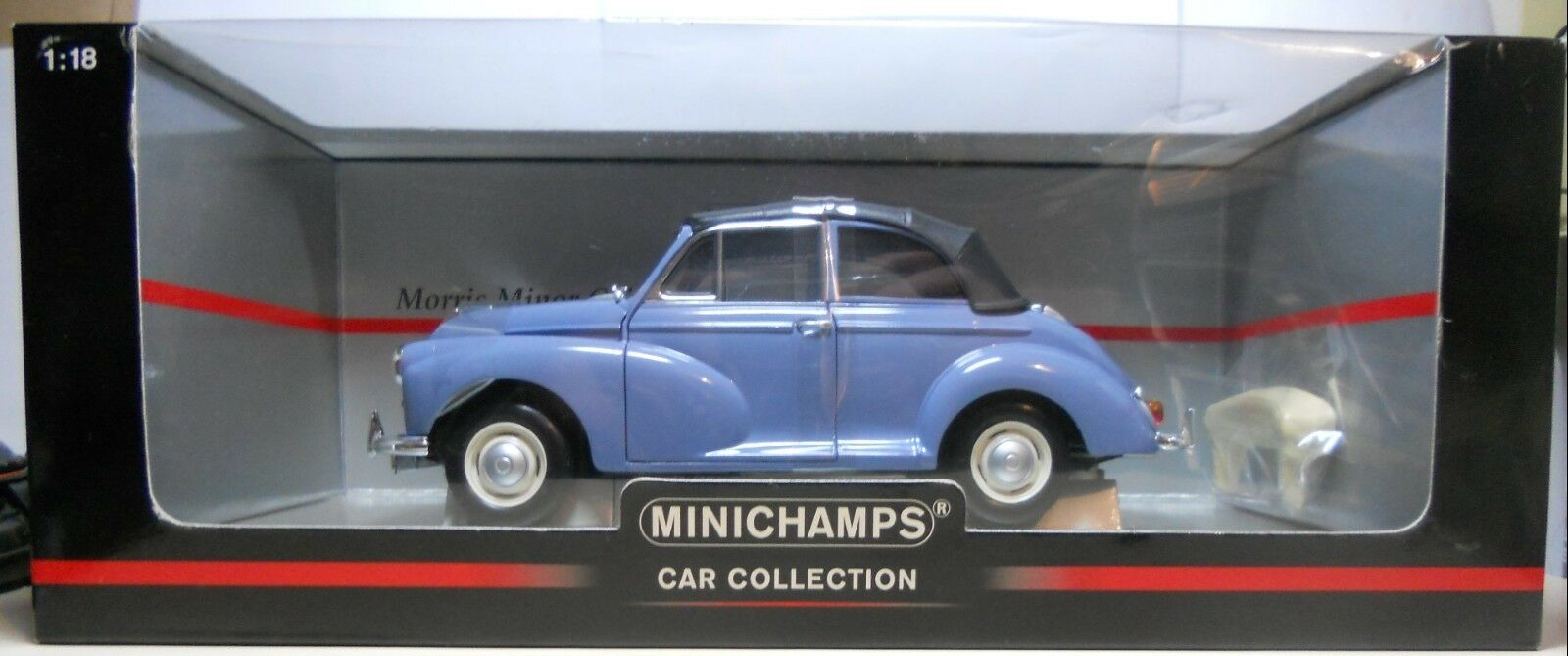 Minichamps autosammlung 1   18 skala druckguss morris minor cabriolet blau (neu)