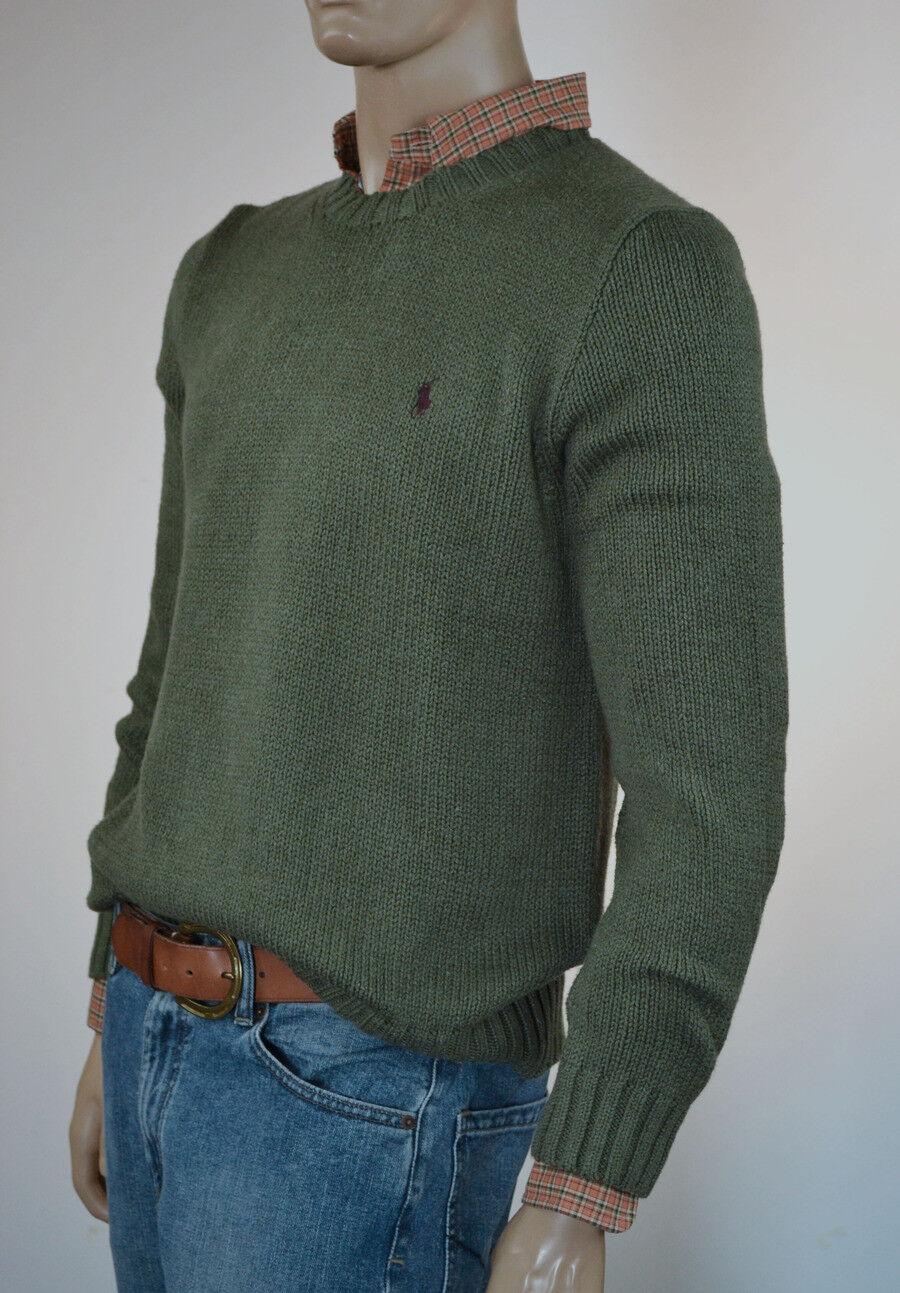 Ralph Lauren Heather Grün Crewneck Cotton Sweater braun Pony-NWT