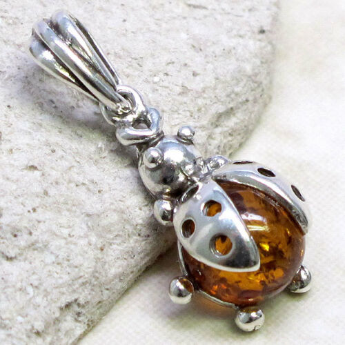 Délicieuse Genuine Baltic Amber Coccinelle Argent Sterling 925 Pendentif