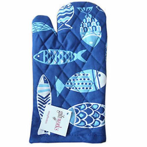Blue //White Fish Modern Print 100/% Cotton Kitchen Oven Glove Mitt 4965