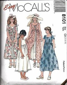 8101-UNCUT-Vintage-McCalls-Sewing-Pattern-Girls-Dresses-Slip-Easy-Summer-Spring