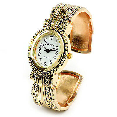 Gold Metal Western Style Decorated Oval Face Women's Bangle Cuff Watch