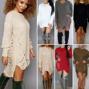 Womens-Crew-Neck-Knitwear-Long-Sleeve-Sweater-Baggy-Party-Tops-Mini-Jumper-Dress