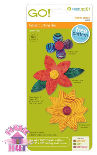 Accuquilt GO Fabric Cutting Die Flower Bunch Quilting Sewing 55332