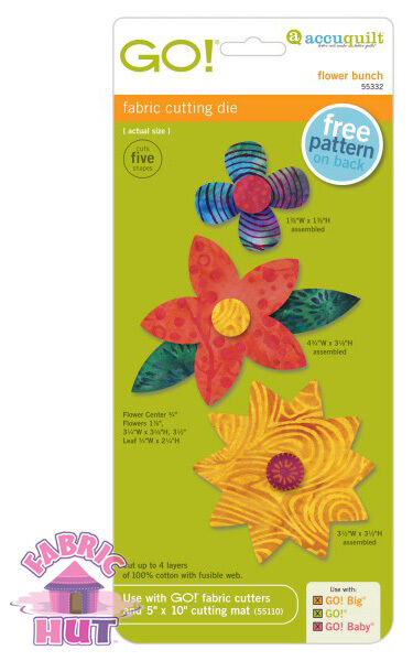 Accuquilt GO! Fabric Cutting Die Flower Bunch Quilting Sewing 55332