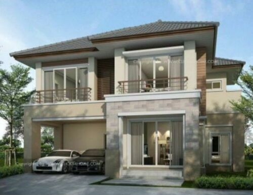4 Bed Room Modern House Plans Grage plan Two Story Home Plan