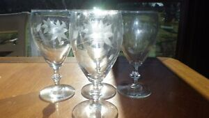 Floral etched Water Goblets Glasses Javit Crystal Company 4 9 oz elegant glasses