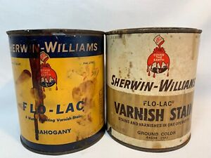 Pair Of Vintage Sherwin Williams Flo Lac Varnish Paint