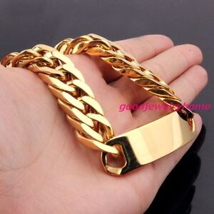Fashion-Stainless-Steel-Gold-Plated-Curb-Cuban-Chain-ID-Bracelet-Men-039-s-Jewelry