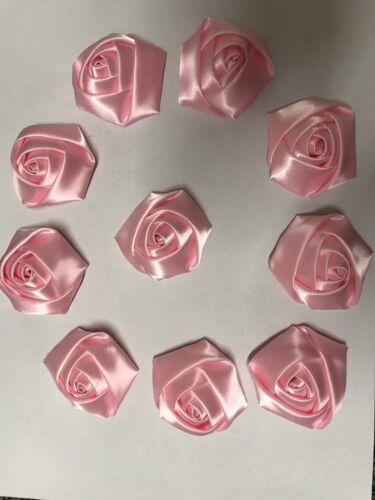 """10 Baby Rosa Handmade Fiori di Rosa in Raso 4d 2"""", Bouquet, Bouquet, Matrimonio, artigianale"""