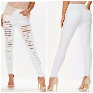 530913f1672e5 Details about WOMENS LADIES GIRLS HIGH WAISTED EXTREME RIPPED WHITE SKINNY  JEANS SIZE 6 TO 16