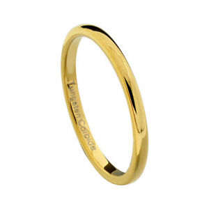 2mm-Gold-Plated-Tungsten-Women-Wedding-Band-Ring-High-Polished-Classic-Dome