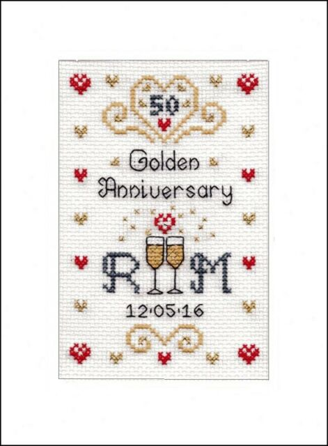 cross stitch kit 16 aida Golden Wedding Anniversary card for 50 years married