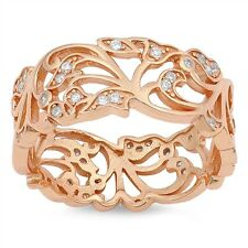 .925 Sterling Silver Floral Flower Leaf Rose Gold Plated Cubic Zirconia Ring NEW
