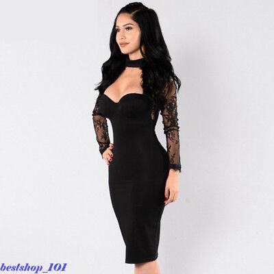 Vestidos Sexys De Mujer Casuales Manga Larga Fiesta Cortos Negros Rojos Encaje Ebay