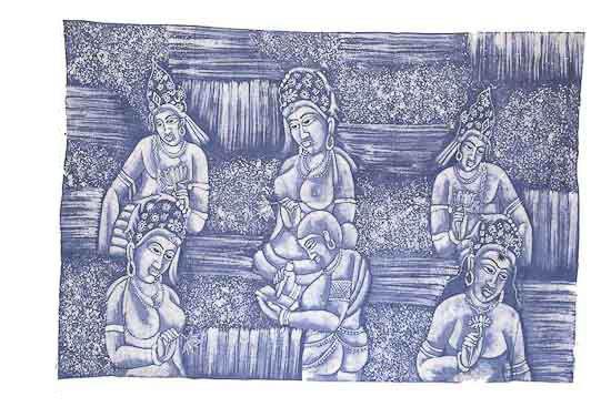 Batik Wandbehang Weiblich Erotik Indien 165 X 112 cm Peterandclo 861