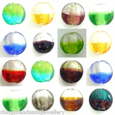 10 Silver Foiled Lampwork Glass 20mm Disc Beads Multi Listing