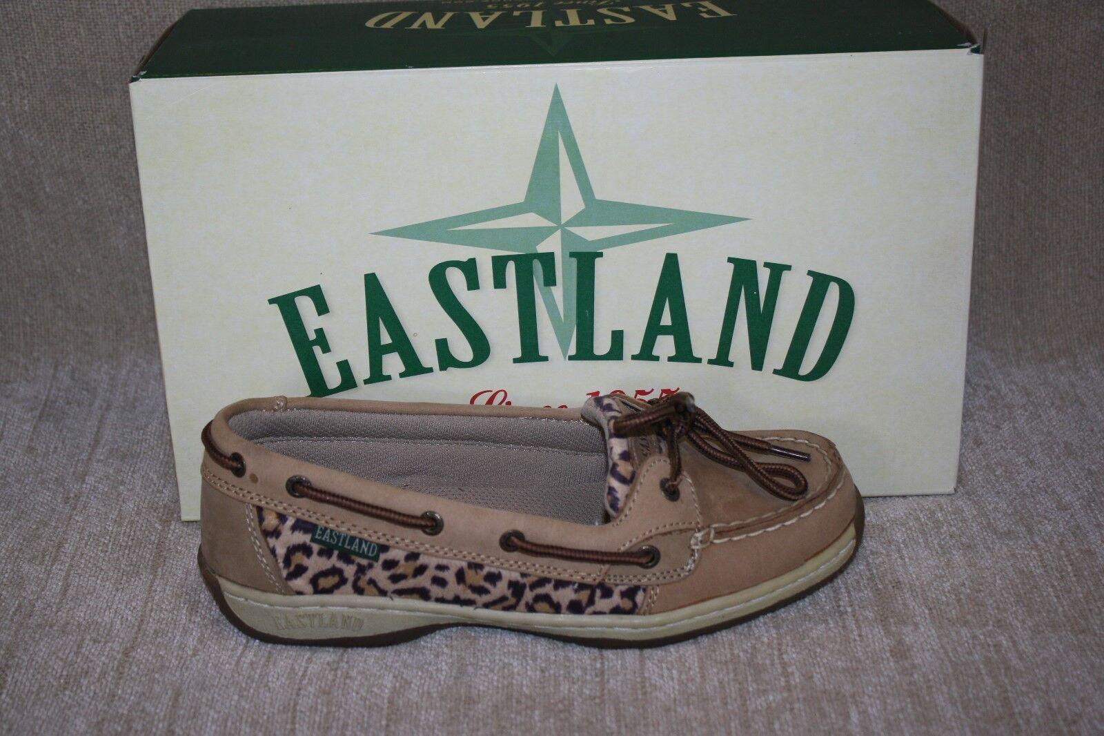 Damenschuhe EASTLAND LEOPARD PRINT TAN SUNRISE BOAT Schuhe-SEE SIZES (B141)