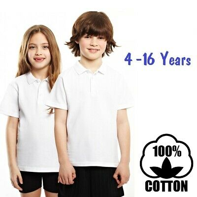 Girls Pack Of 2 School White Short Sleeve 100 /% Cotton Polo Shirt Uniform 8-9 Years