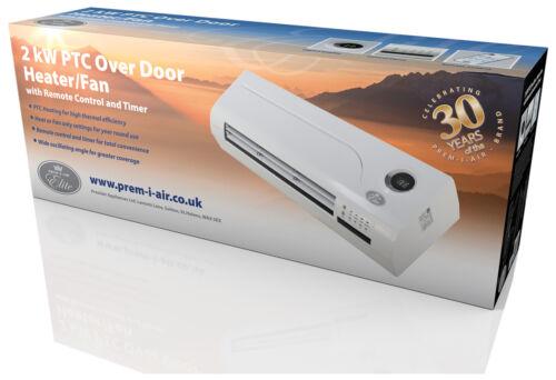 2 kW PTC over door Shop chauffage ventilateur avec télécommande et 24 H 7 Day Timer