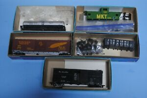 5-Athearn-and-MDC-cars-UP-DRGW-SP-MKT-WP-boxcar-tank-car-caboose-stock-car