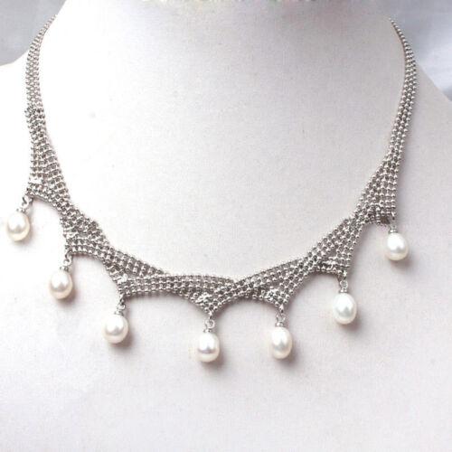 Fashion Femmes naturelles du riz blanc eau douce Perle Collier Pendentif Bijoux